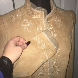 Tahari Jackets & Coats - Tahari Tan Hand Embroidered Suede Jacket Size S